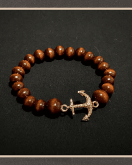 Handmade made with wooden beads anchor gold plated 18 k 8″