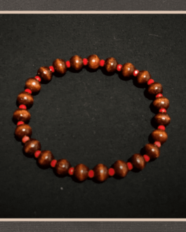 Handmade Bracelet With Wooden Beads and Crystal 8″ for Men